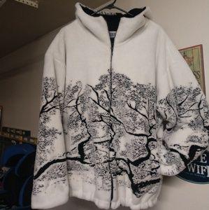 Womens fleece cozy warm zip up jacket